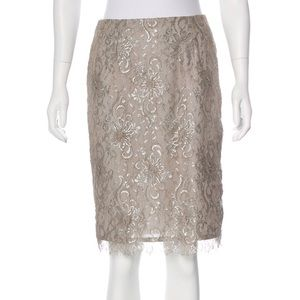David Meister metallic lace knee length skirt 097